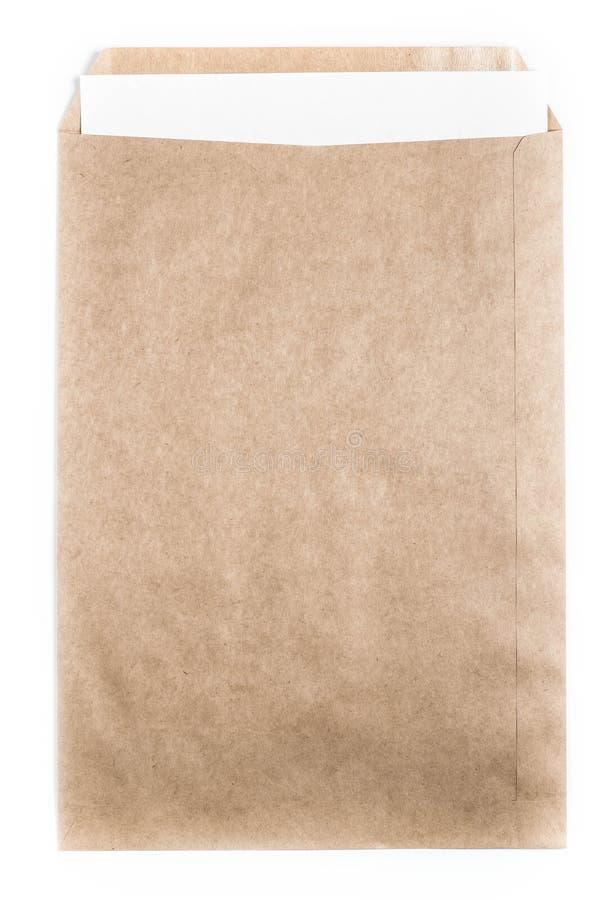 Groot Bruin gerecycleerd Envelopdocument met document kaart op witte B royalty-vrije stock foto