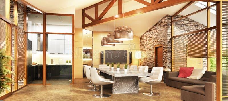 Groot buitenhuis met keuken en woonkamer binnenlands ontwerp royalty-vrije illustratie