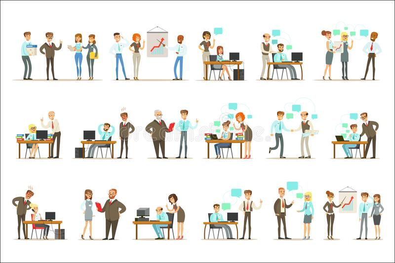 Groot Chef- Managing And Supervising het Werk van de Reeks van Bureauwerknemers van Hoogste Manager And Workers Illustrations vector illustratie