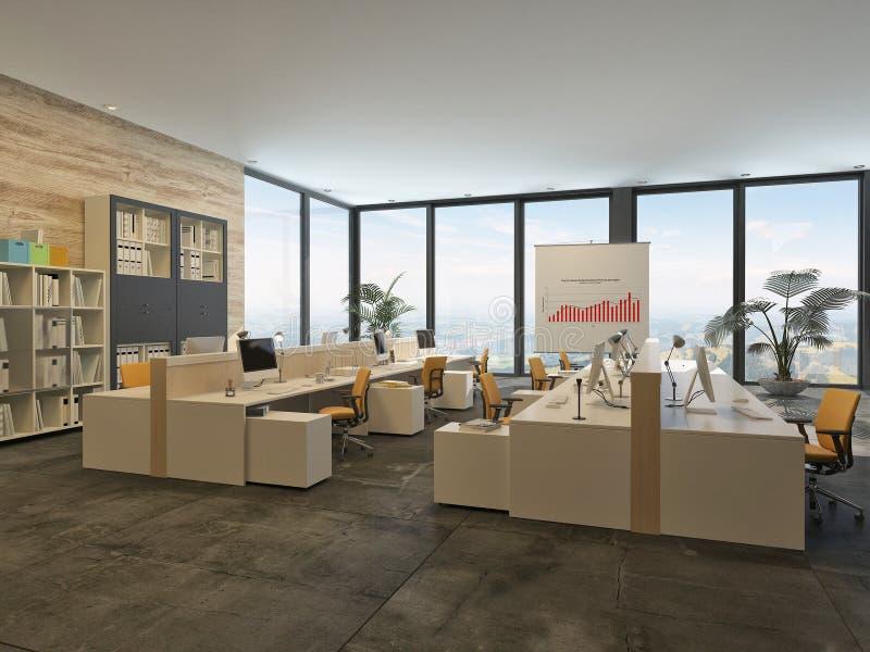 Groot commercieel bureau zonder tussenmuren vector illustratie