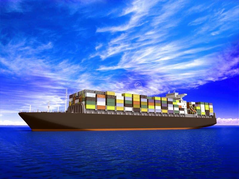 Groot containerschip vector illustratie