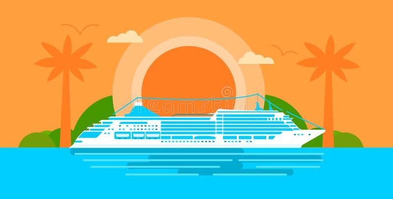 Groot cruiseschip bij zonsondergang in oceaan stock afbeeldingen