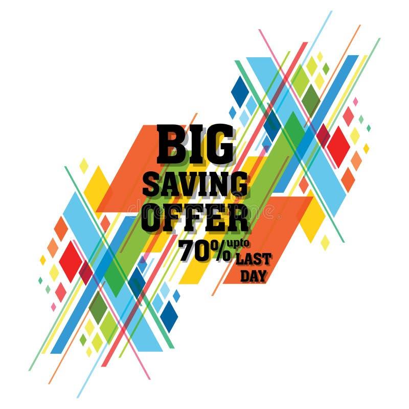 Groot de bannerontwerp van de besparingsverkoop vector illustratie