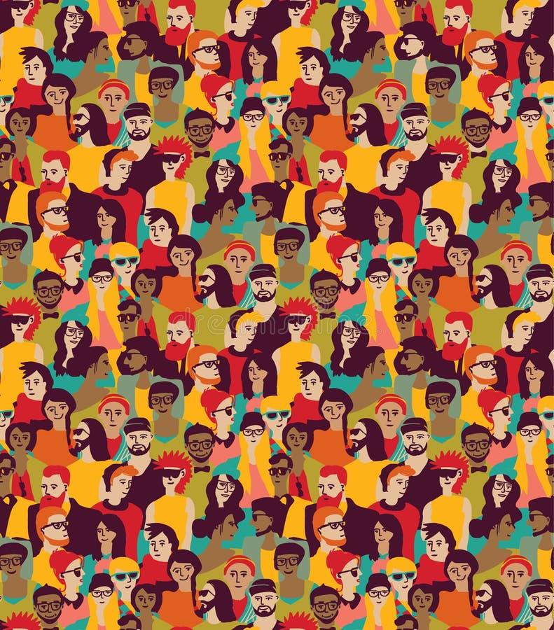 Groot de kleuren naadloos patroon van menigte gelukkig mensen royalty-vrije illustratie