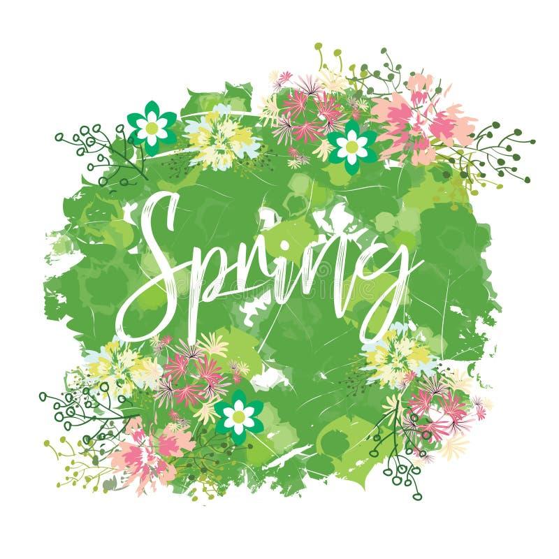 Groot de lenteboeket, een verscheidenheid van de lentebloemen op een heldere bevlekte achtergrond De lentesamenstelling voor kaar royalty-vrije illustratie