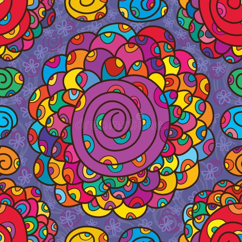 Groot de wervelings naadloos patroon van de bloemkleur royalty-vrije illustratie