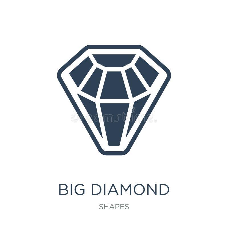 groot diamantpictogram in in ontwerpstijl groot die diamantpictogram op witte achtergrond wordt geïsoleerd groot eenvoudig en mod vector illustratie