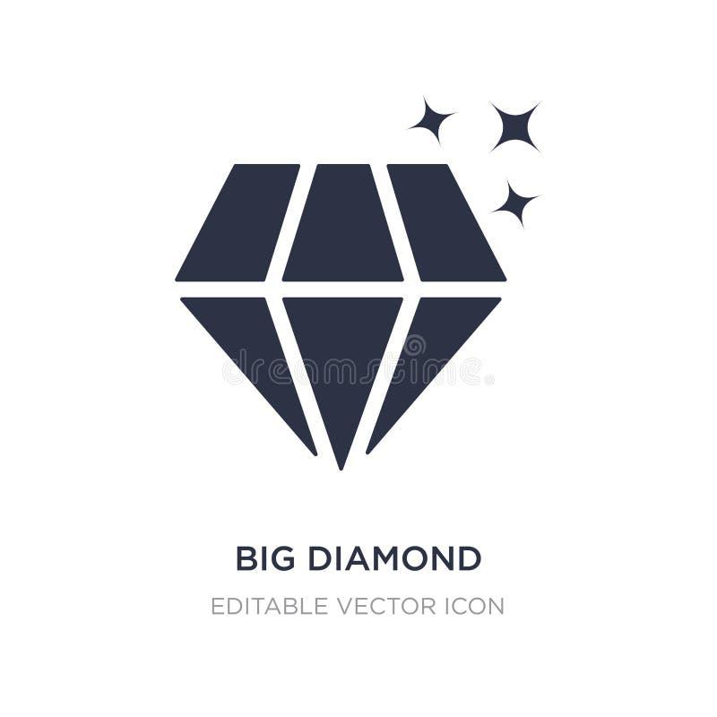 groot diamantpictogram op witte achtergrond Eenvoudige elementenillustratie van Vormenconcept stock illustratie