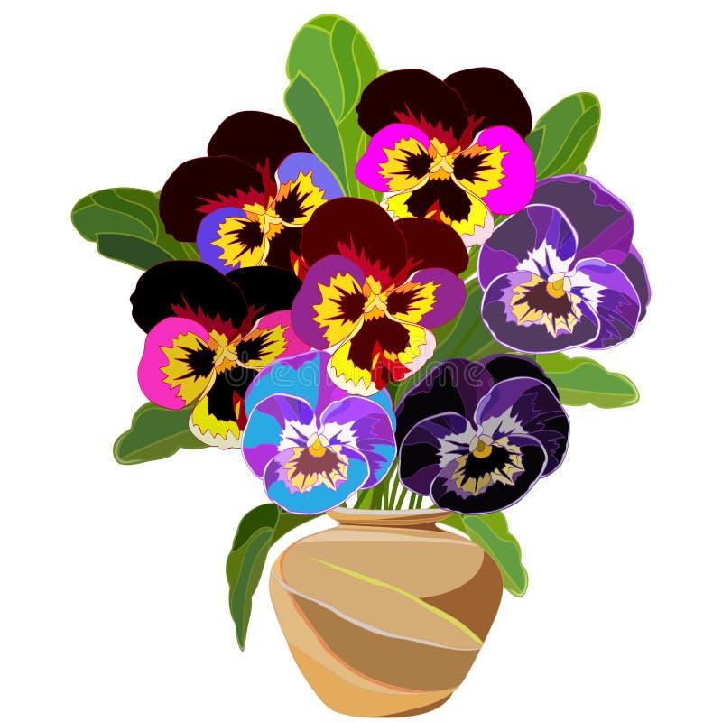 Groot die boeket van helder pansies in een bruine ceramische vaas wordt gekleurd vector illustratie