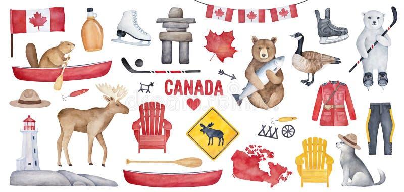 Groot die Canada met diverse symbolen zoals nationale vlag, ahornstroopfles, vuurtoren, hockey wordt geplaatst schaatst royalty-vrije illustratie