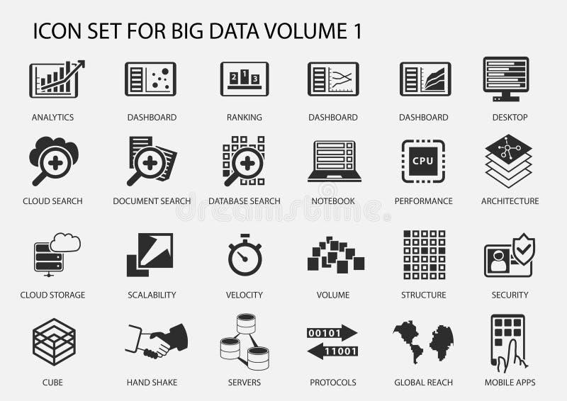 Groot die gegevenspictogram in vlak ontwerp wordt geplaatst stock illustratie