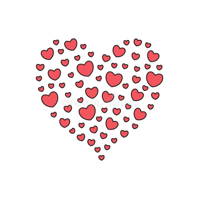 Groot die hart met kleine harten wordt gevuld stock illustratie