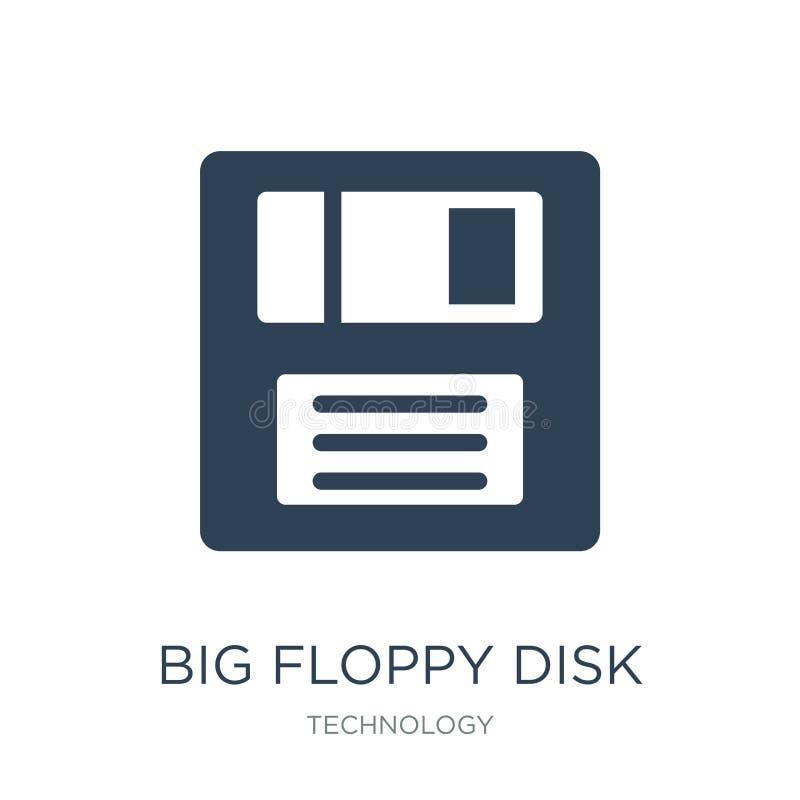 groot diskettepictogram in in ontwerpstijl groot die diskettepictogram op witte achtergrond wordt geïsoleerd groot eenvoudig disk vector illustratie