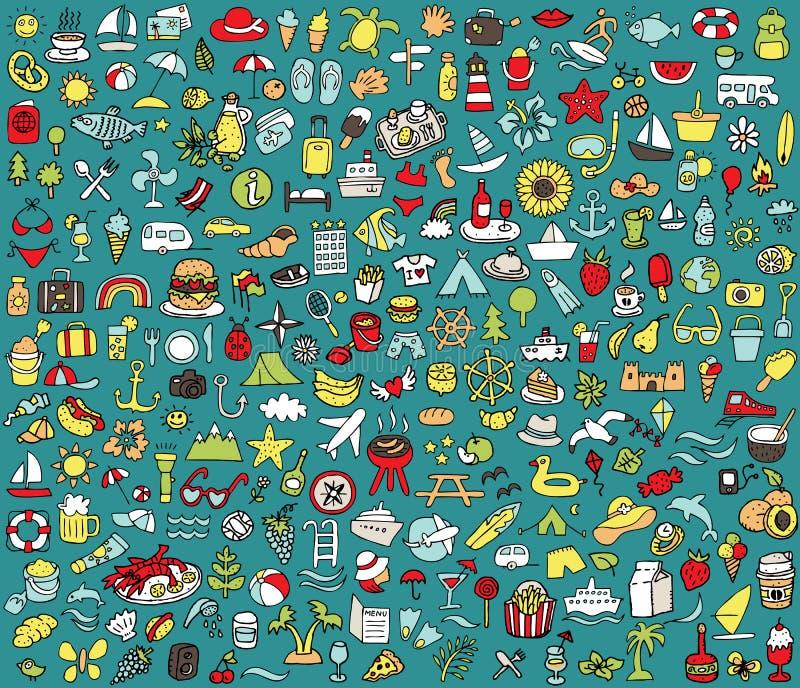 Groot doodled de zomer en de inzameling van vakantiepictogrammen vector illustratie