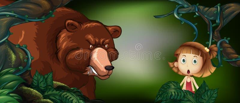 Groot draag en meisje in het hout royalty-vrije illustratie
