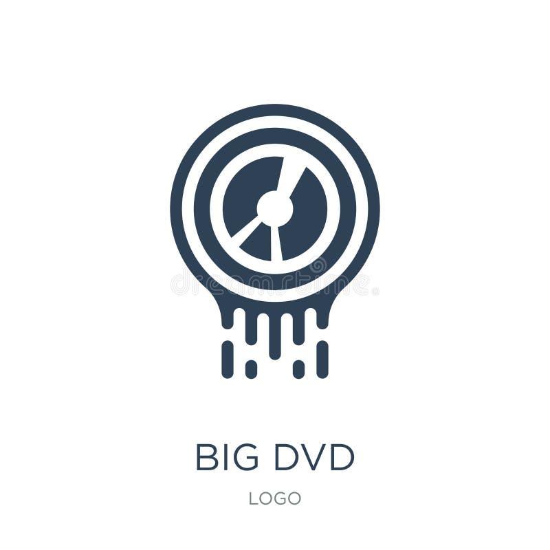 groot dvdpictogram in in ontwerpstijl groot die dvdpictogram op witte achtergrond wordt geïsoleerd het grote eenvoudige en modern vector illustratie