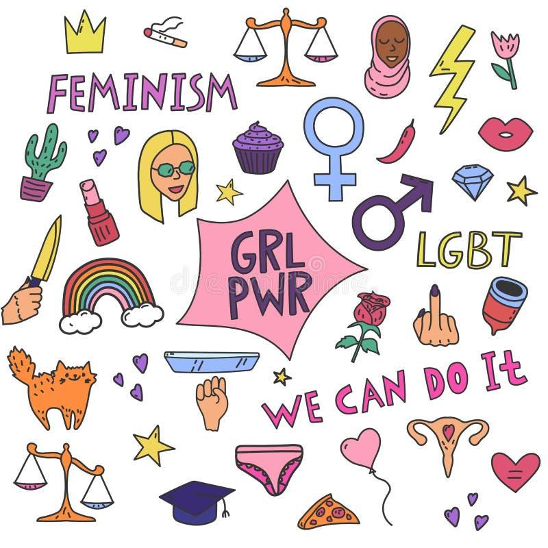 Groot eenvoudig die feminisme met protestsymbolen en tekst wordt geplaatst stock illustratie