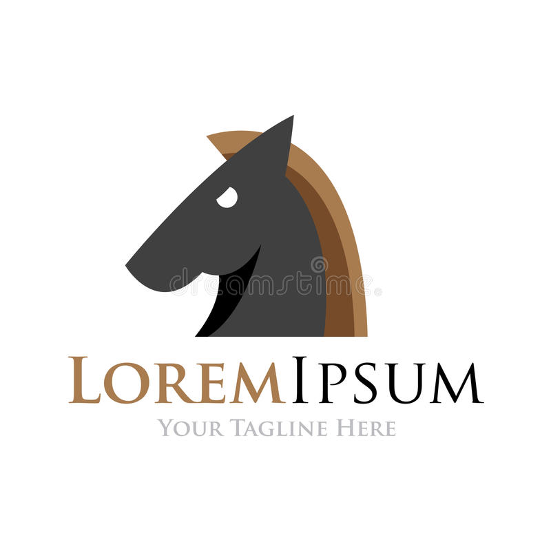 Groot elegant zwart van het bedrijfs paardhoofd eenvoudig pictogramembleem royalty-vrije illustratie