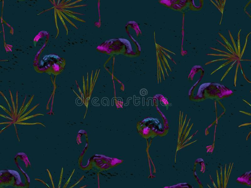 Groot flamingo blauw Hawaiiaans naadloos patroon stock illustratie
