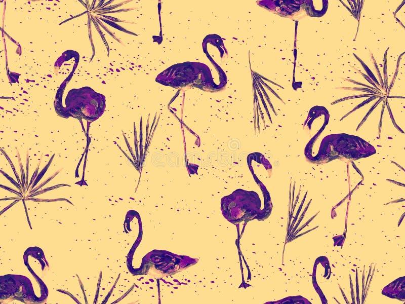 Groot flamingo geel Hawaiiaans naadloos patroon royalty-vrije illustratie