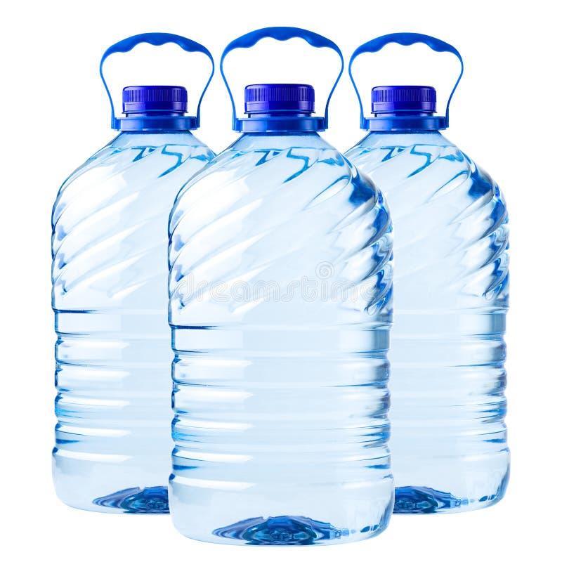 Groot flessen transparant plastiek royalty-vrije stock foto's