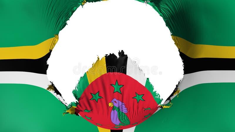 Groot gat in Dominica vlag stock illustratie