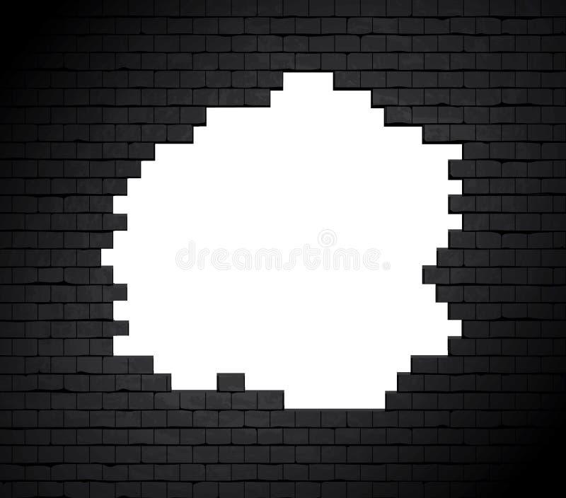 Groot gat op bakstenen muur. royalty-vrije illustratie