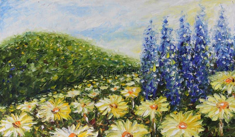 Groot gebied van de zomerbloemen, madeliefjes stock illustratie