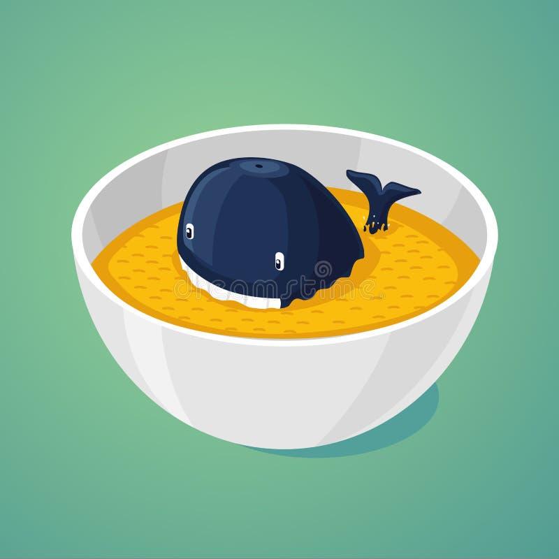 Groot gedeelte Blauwe vinvis in de plaat van voedsel vector illustratie