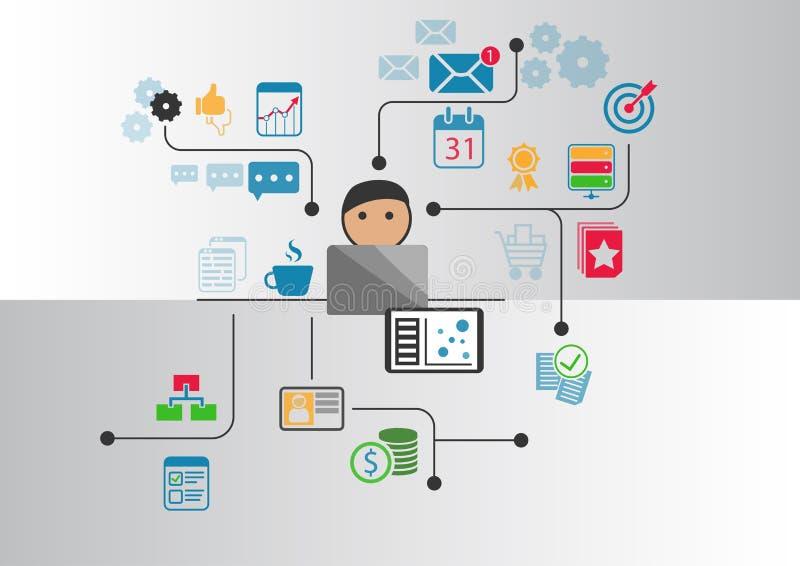 Groot gegevens, analytics en bedrijfsintelligentieconcept Beeldverhaalpersoon die met gegevens en informatie wordt verbonden die  royalty-vrije illustratie