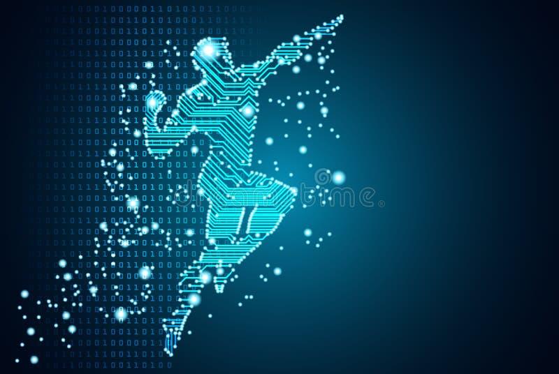 Groot gegevens en kunstmatige intelligentieconcept royalty-vrije illustratie