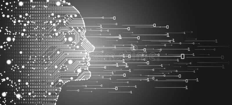 Groot gegevens en kunstmatige intelligentieconcept stock afbeelding
