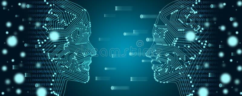 Groot gegevens en machine het leren concept Twee gezichtenoverzicht met binaire gegevensstroom op een achtergrond royalty-vrije stock afbeeldingen
