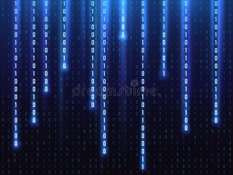 Groot gegevens vectorconcept met het vallen onderaan het gloeien binaire aantallen De digitale achtergrond van de matrijscomputer stock illustratie