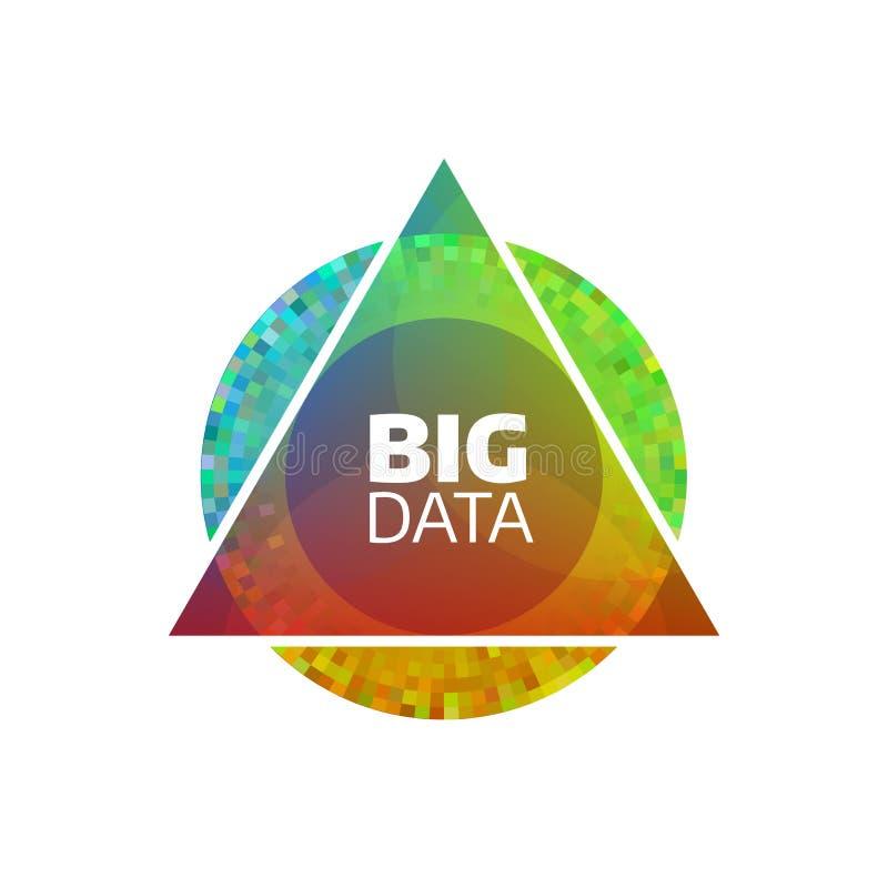 Groot gegevens vectorpictogram Geometrisch bigdata vlak concept Cirkel en driehoeksvormen stock illustratie