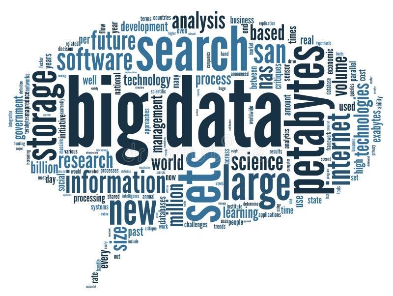 Groot gegevensconcept in woordwolk stock illustratie