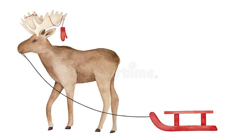 Groot glimlachend lopend Amerikaanse elandenkarakter met warme gebreide vuisthandschoenen op geweitakken, dragende rode houten sn stock illustratie
