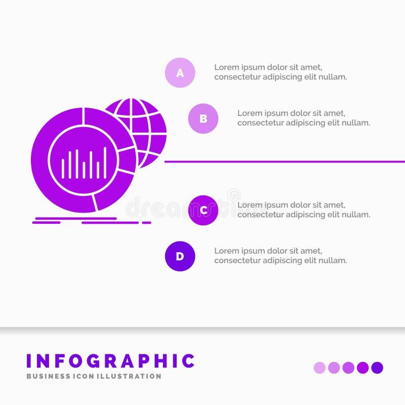 Groot, grafiek, gegevens, wereld, infographic Infographics-Malplaatje voor Website en Presentatie Infographic stijl van het GLyph stock illustratie