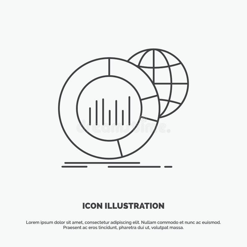 Groot, grafiek, gegevens, wereld, infographic Pictogram Lijn vector grijs symbool voor UI en UX, website of mobiele toepassing vector illustratie