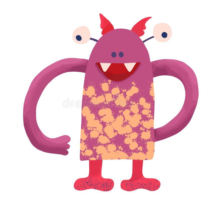 Groot grappig scherp monster van roze kleur met grote handen en gele vlekken op het lichaam, de illustratie van kinderen op diver stock illustratie