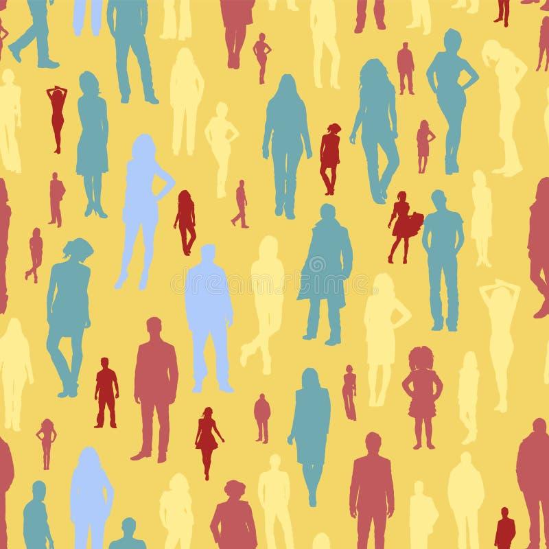Groot groeps mensen naadloos patroon royalty-vrije illustratie