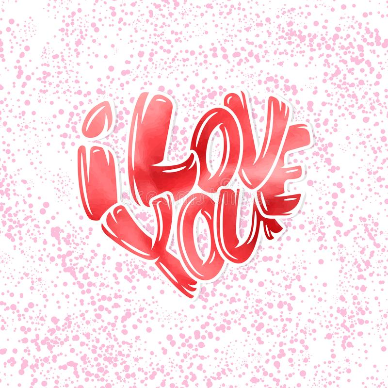 Groot hart met het van letters voorzien - I houdt van u, typografieaffiche voor Valentijnskaartendag, kaarten, drukken royalty-vrije illustratie