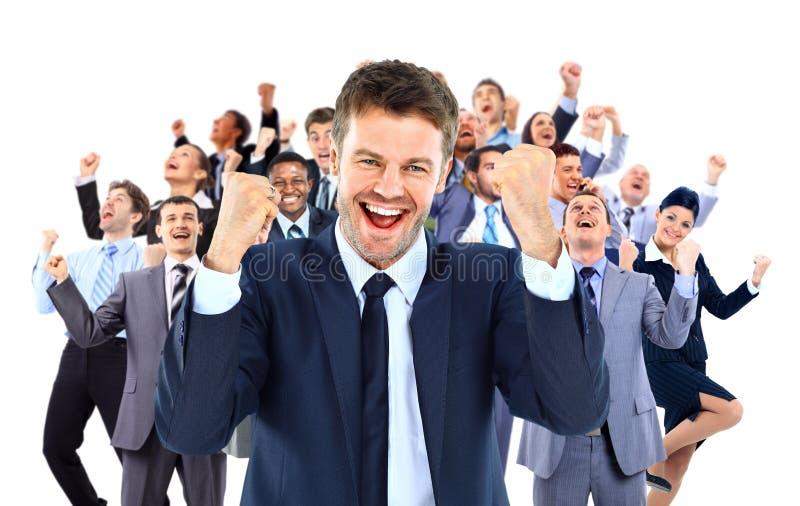 Groot het commerciële team vieren succes stock foto's