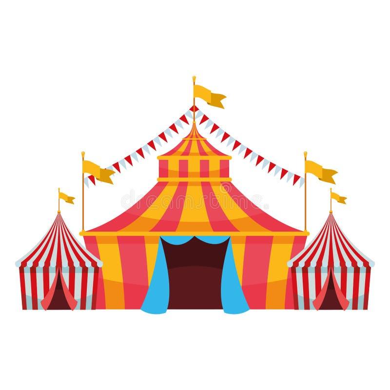 Groot hoogste circus met vlag stock illustratie