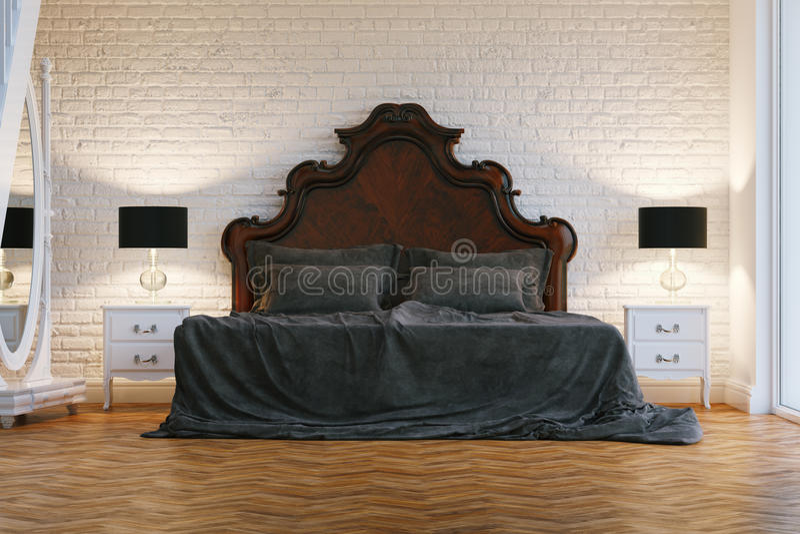 Groot houten bed met grijze doek in witte eigentijdse slaapkamer stock illustratie
