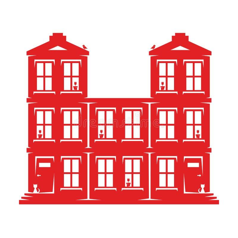 Groot huis voor verscheidene families stock illustratie