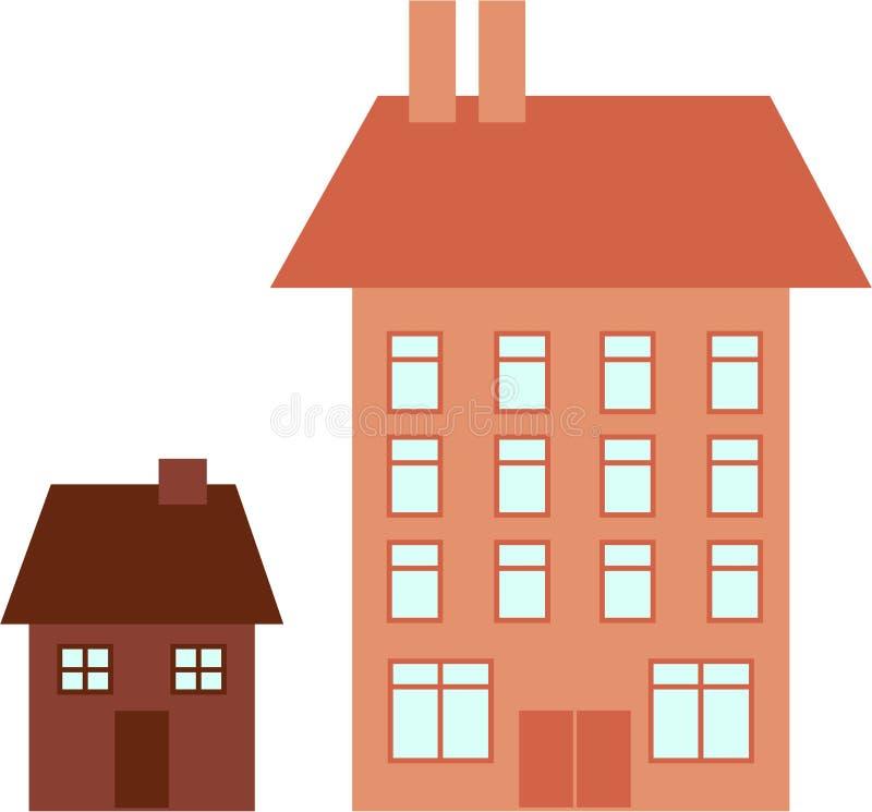 Groot huis weinig huis stock illustratie
