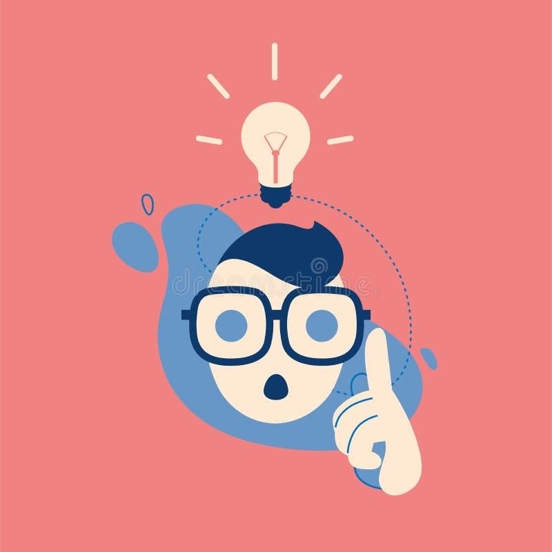 Groot ideeconcept met de mens en lightbulb de lamp, denkt, creatief, stiker illustratie royalty-vrije illustratie