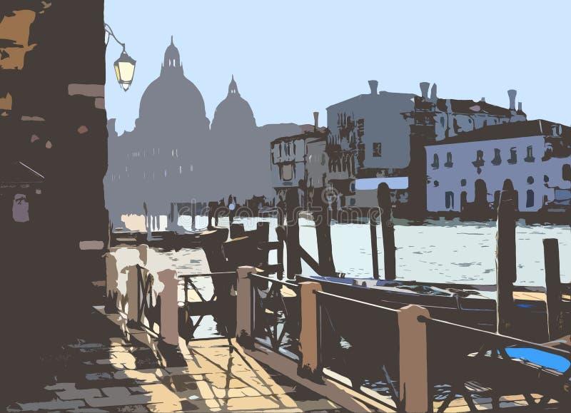Groot Kanaal in Venetië, Italië stock illustratie