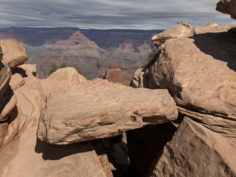 Groot kanjon over het hoofd gezien stock fotografie